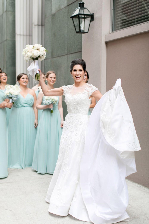 Black Tie New Orleans Wedding Pastel bridesmaid dresses