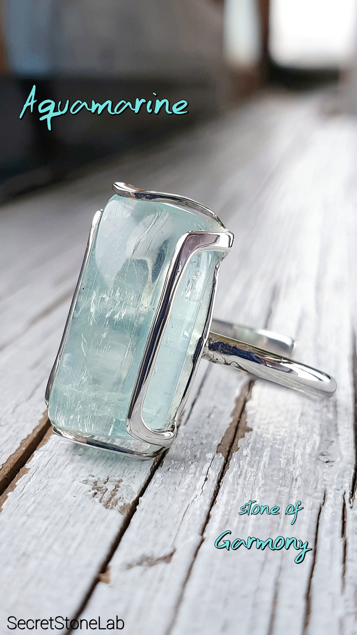 Https Www Etsy Com Listing 658708578 Aquamarine Ring Blue Solid