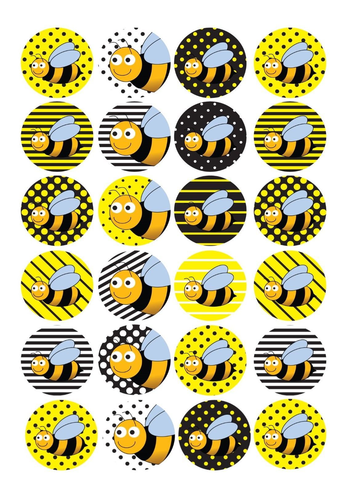 Details About 24 Edible Cake Toppers Decorations Bumblebee