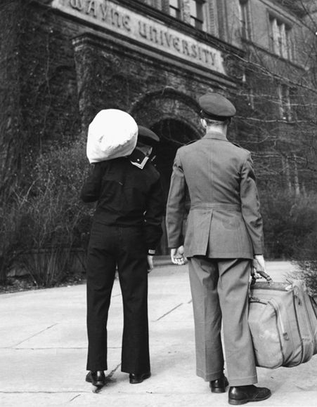 Veterans in front of the Main Building, late 1940s.