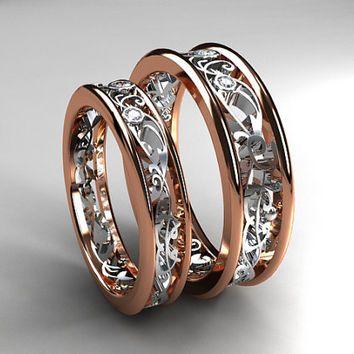 best white gold filigree wedding band products on wanelo - Matching Wedding Ring Sets