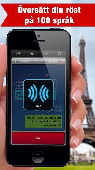 Du talar in det du vill ha översatt och det översätts till det språk du ställt in i förväg, röst till röst. Appen SayHi översätt för iPhone och iPad. Det ska sägas att det kan vara svårt att tala tillräckligt tydligt för att röst-till-röst ska fungera.