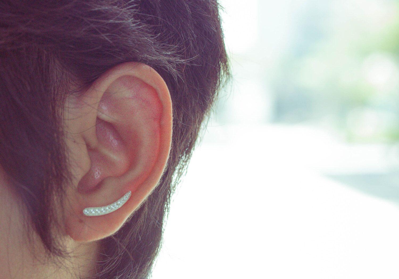 Curved Bar Ear Crawler, Curved Bar Ear Cuff, Silver Bar Ear Sweep, Minimalist Ear Cuff Earrings, Line Bar Ear Cuffs, Silver Ear Climbers by karlasdesign on Etsy https://www.etsy.com/listing/231665329/curved-bar-ear-crawler-curved-bar-ear