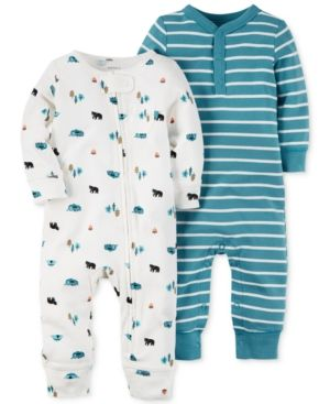 762d7c22f91c Carter s Baby Boys  2-Pack Little Wild One Coveralls - White 6 ...