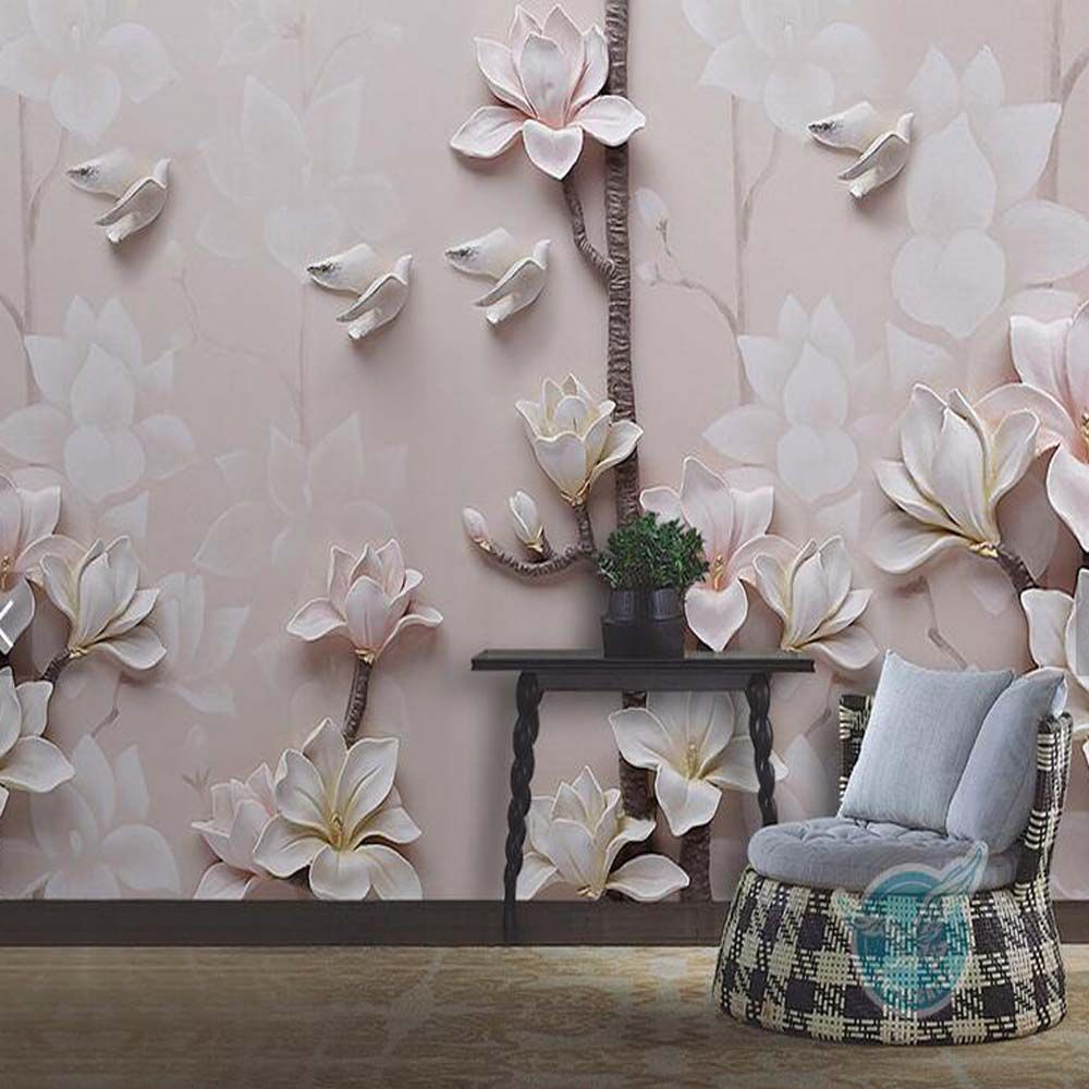 Large papel de parede decorative 3d wall panels murals wallpaper for - Find More Wallpapers Information About Embossed Yulan Magnolia Flower Photo Mural Wallpapers Living Room Walls Art Decor Papel De Parede Textured 3d