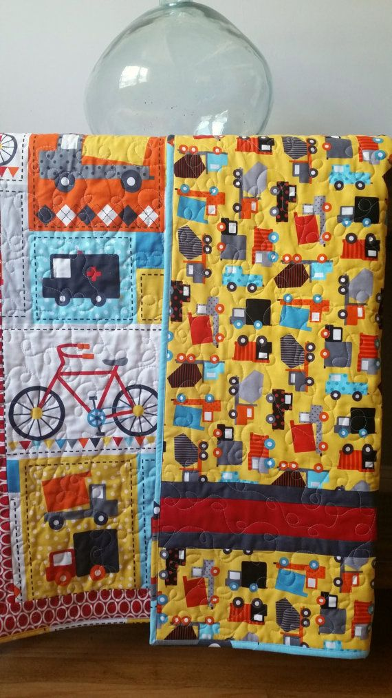 Modern Baby Boy Quilt Ready Set Go Quilt-Trucks by GoBeWonderful ... : baby boy quilt fabric - Adamdwight.com