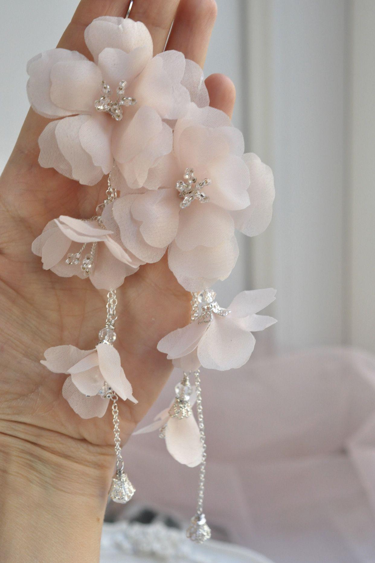 Wedding large flower earring Bridal hairpin big Golden flower