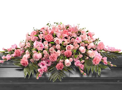 FTD Sweetly Rest Pink Casket Spray Funeral Flowers | Casket spray ...
