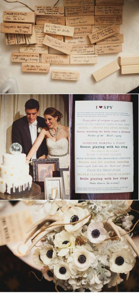 Victorian Spy Camera Jenga guest book, Wedding prep, Fun