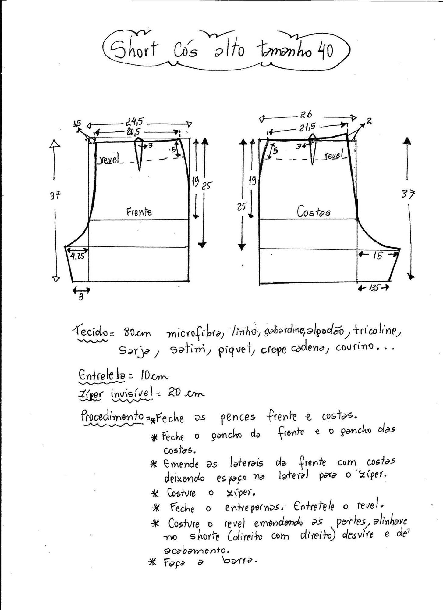 Short tiro alto | costura | Pinterest | Patrones, Costura y Moldes