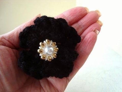 Knitting Pattern Knitted Black Flower Easy Video Tutorial How To