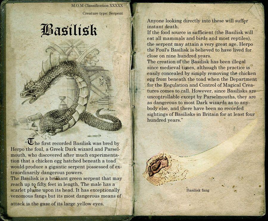 Basilisk Page 14 Harry Potter Creatures Harry Potter Journal Harry Potter Printables