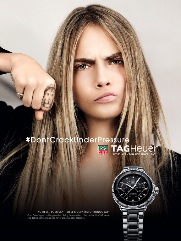 48324cac38 Tag Heurer Watch Advertising with Cara Delevingne