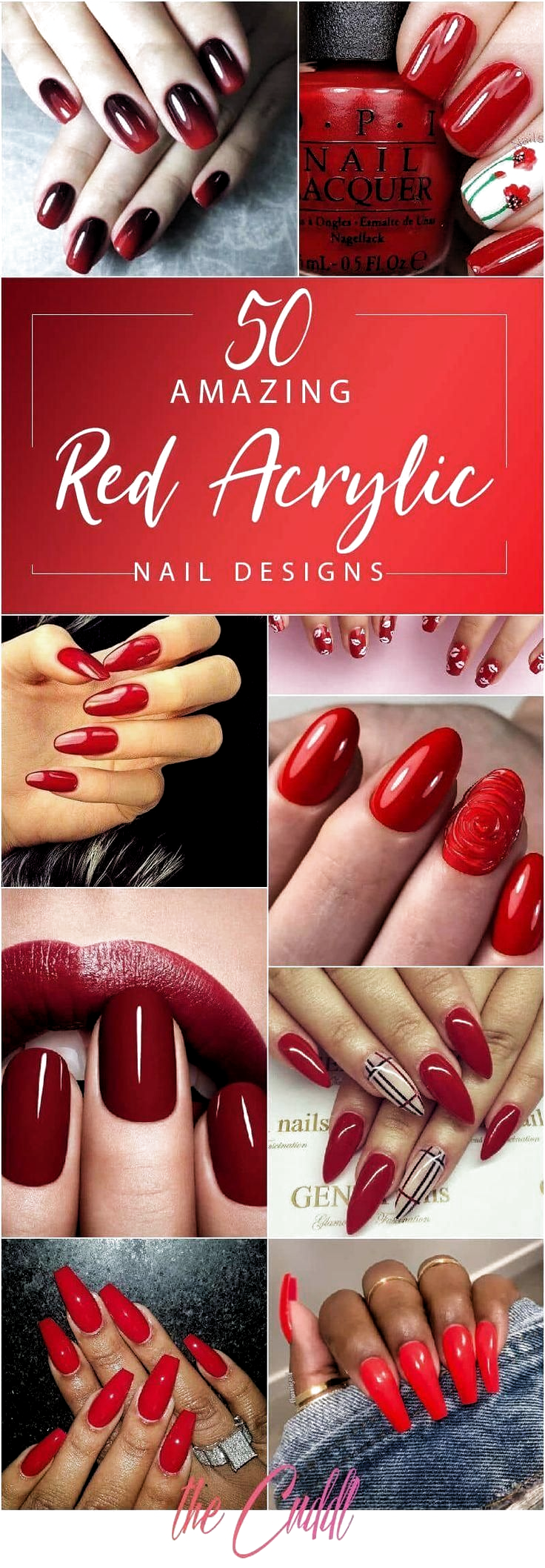 50 kreative rote Acrylnägel Designs, die Sie inspirieren #acrylic #creative #de…