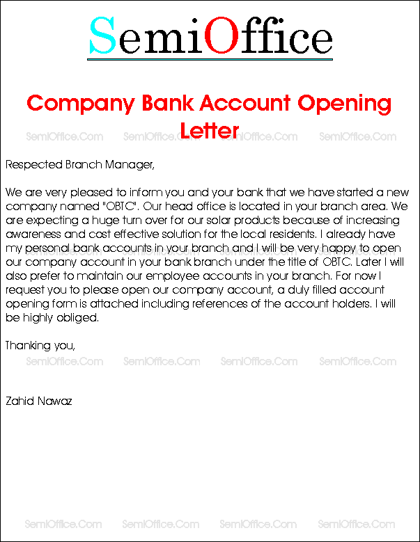 Letter Open Company Bank Account Opening Request For Salary New