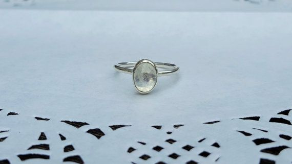Sterling Silver & Moonstone Oval Cabochon Ring by RacheyMayDesign