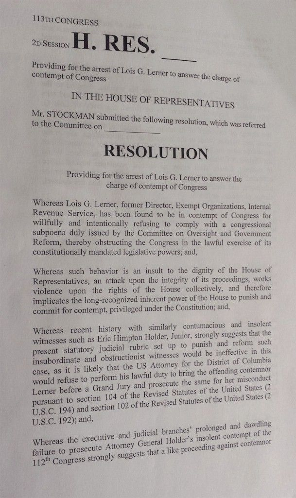Resolution filed ordering arrest of Lois Lerner 10 Get
