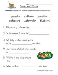 compound words worksheet 3 word work pinterest compound words