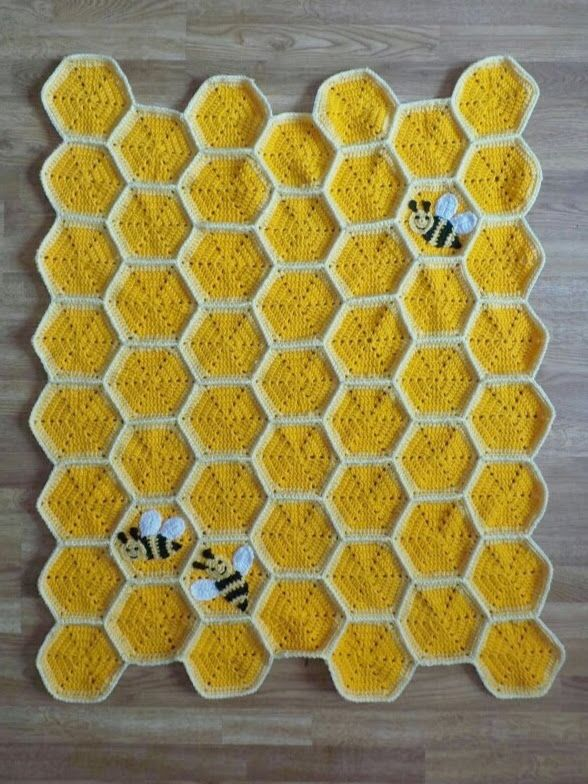 Bee Happy Honeycomb Baby Blanket Crochet Pattern | Crafting Happiness