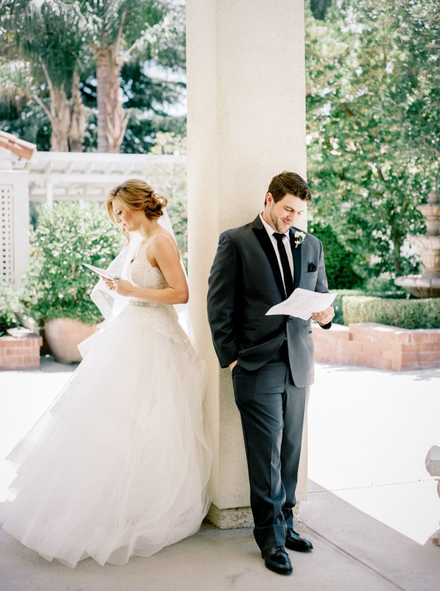 Traditional bluehued wedding in california letter photography