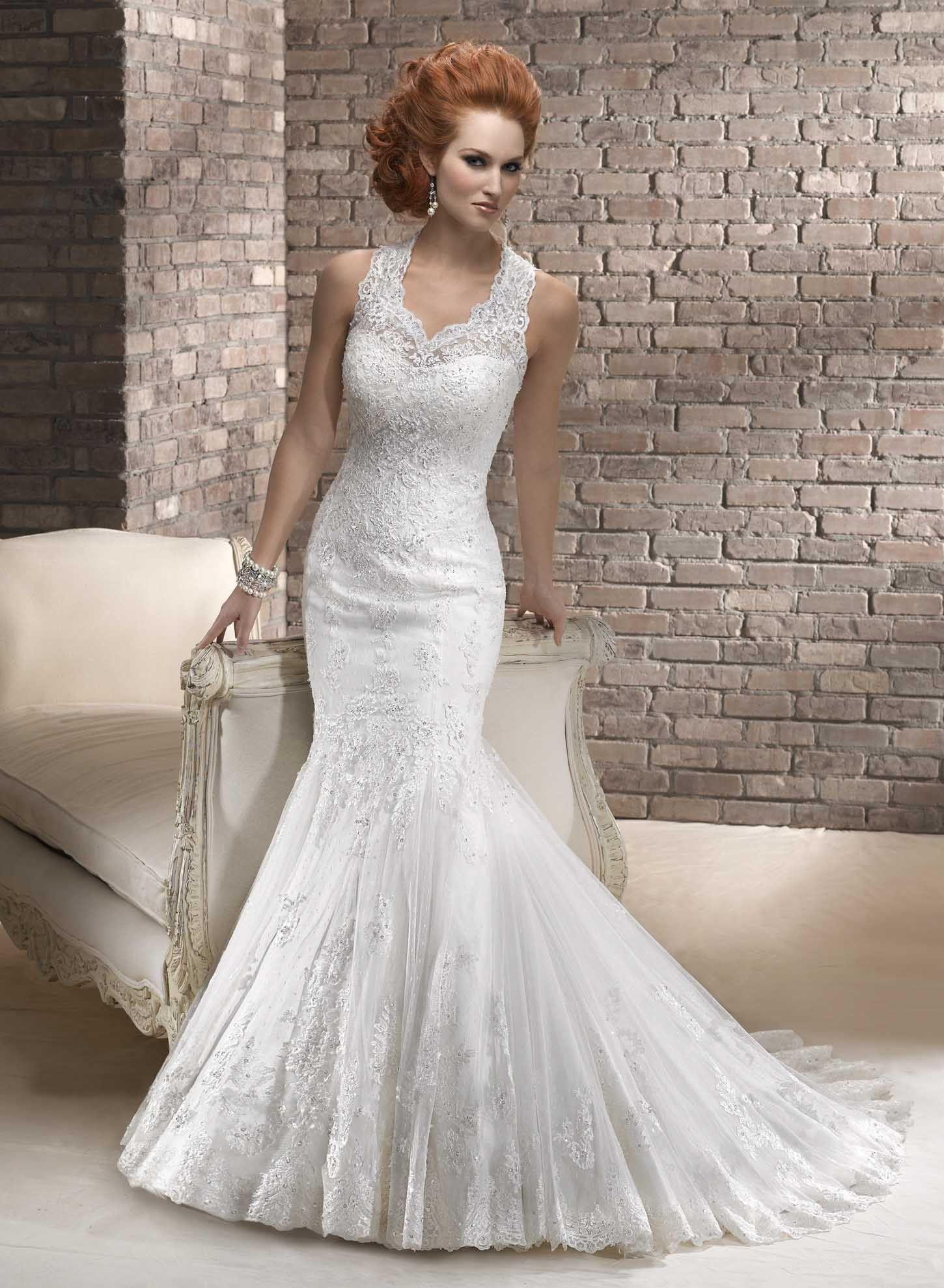 Fashion mermaid illusion neckline satin wedding dress wd