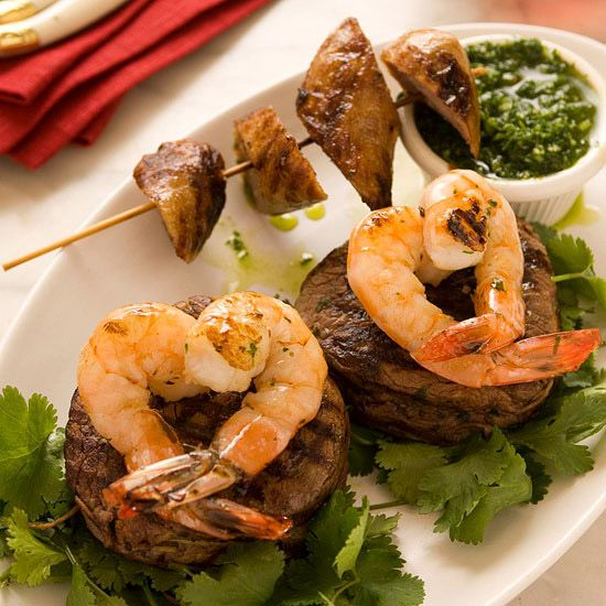 Steak With Heart Shaped Shrimp Surf And Turf Valentines Day Food Valentine Ideas
