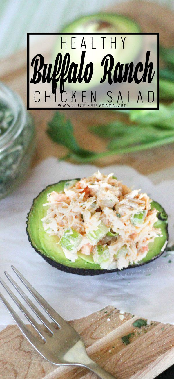 Buffalo Ranch Chicken Salad served in an Avocado makes a great lunch or dinner! …
