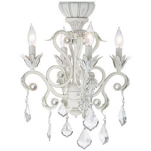 White Chandelier Ceiling Fan: 4-Light Rubbed White Chandelier Ceiling Fan Light Kit In