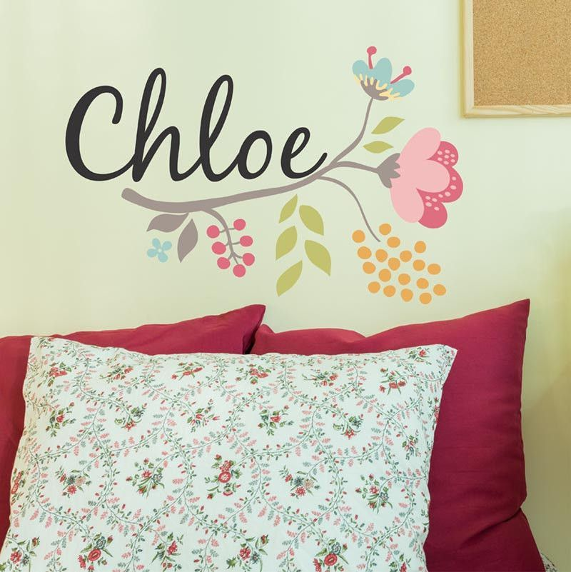 Chloe Flower Branch Personalized Custom Name Vinyl Wall Decal - Custom vinyl wall decals flowers