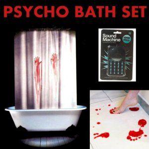 Psycho Bathroom Set Bath Mat Shower Curtain Bonus Horror