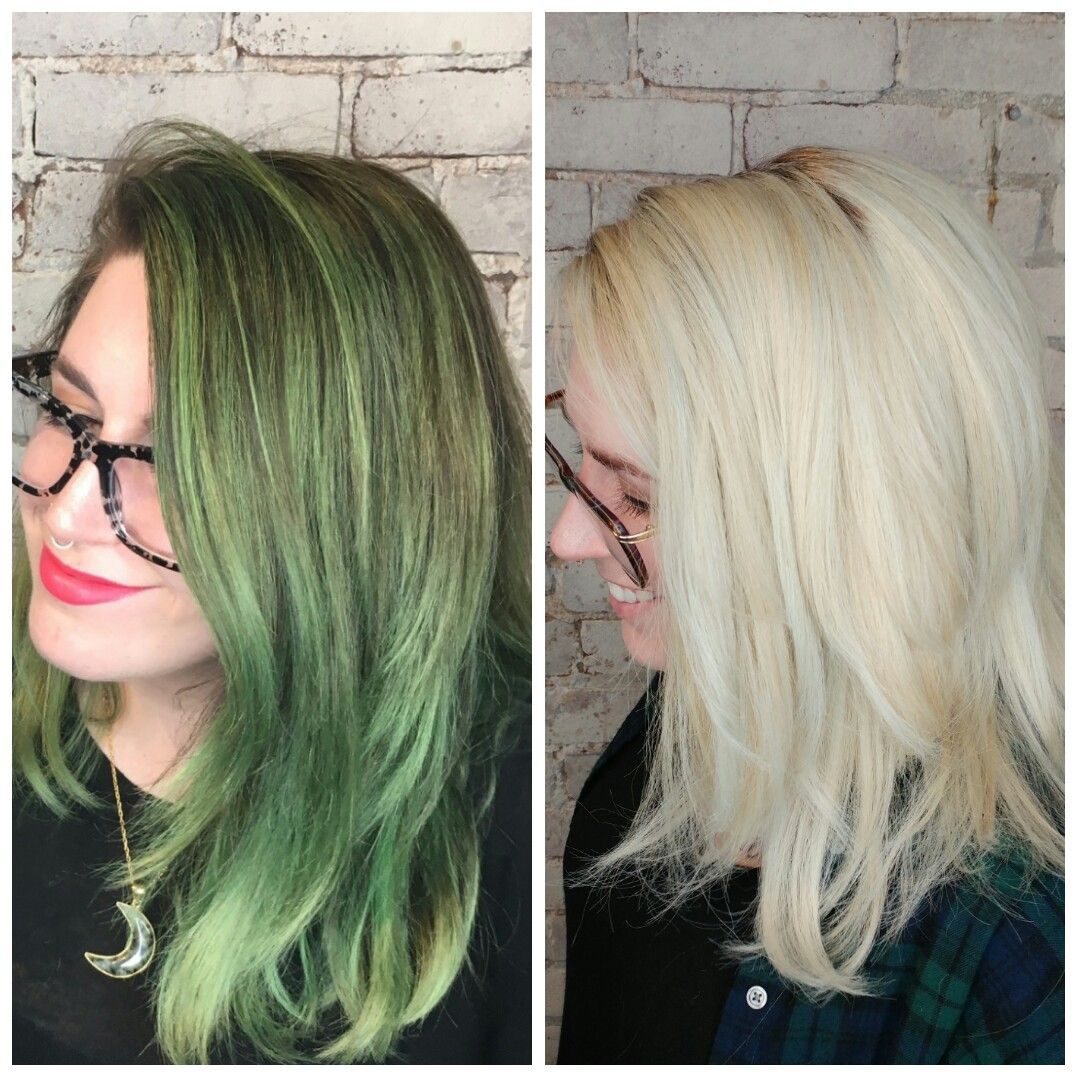 Color correction green to blonde  #Greenhair #Blondehair