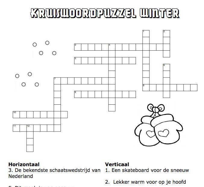 Kruiswoordpuzzel Winter Klik Voor Pdf School