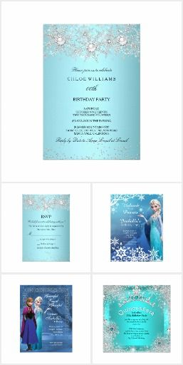 Winter Wonderland Frozen Party Invitations Features Winter Ice Blue