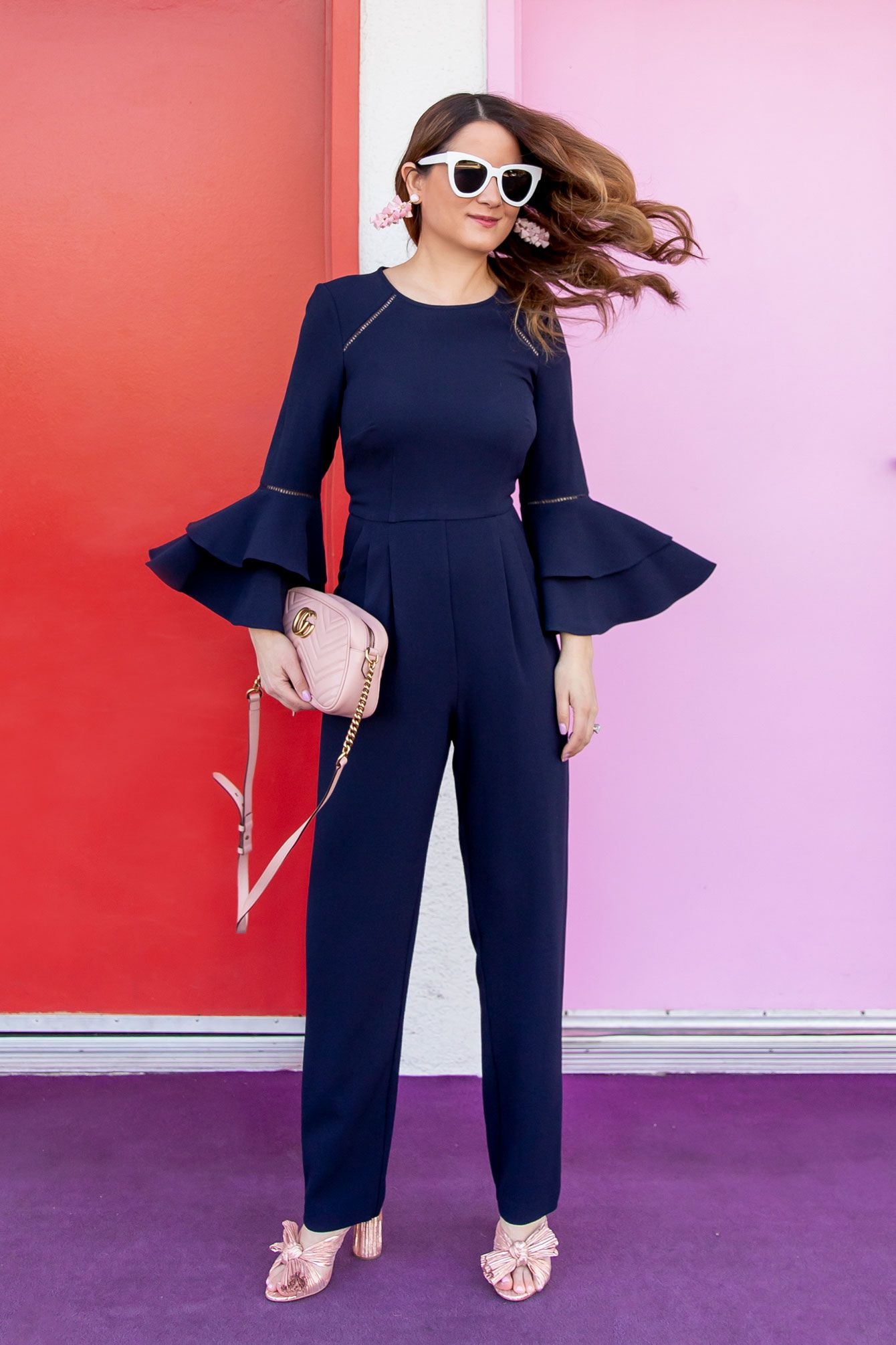 8a68f3d7a9ee Navy Bell Sleeve Jumpsuit in Palm Springs   Real Style   Jumpsuit ...