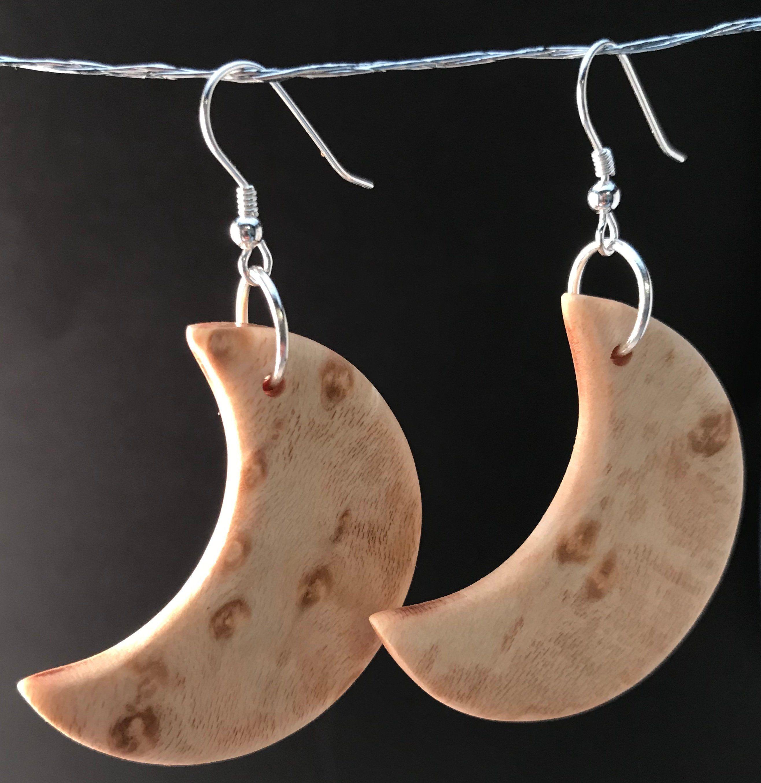 Gift for Her Lightweight Statement Earrings Crescent Moon Wood Earrings Boho Earrings *Celestial Earrings Hand Painted Bohemian