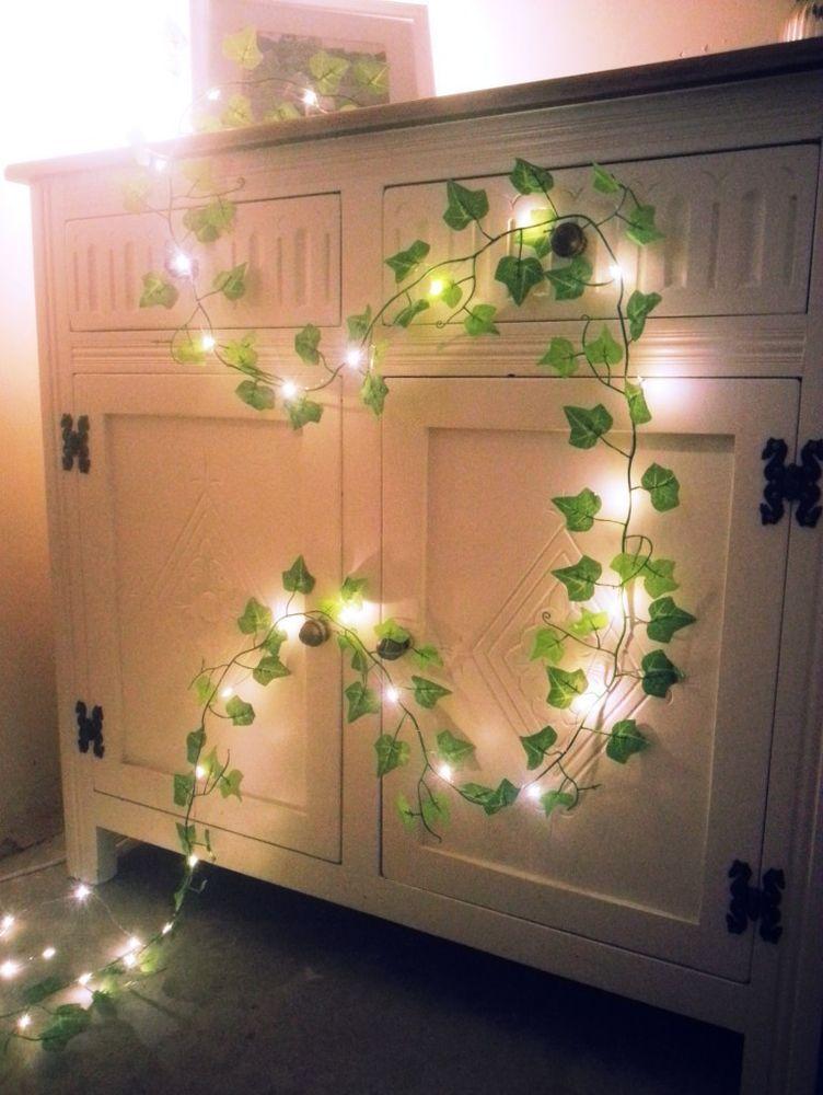 Green Ivy leaf garland mini led fairy string lights wedding