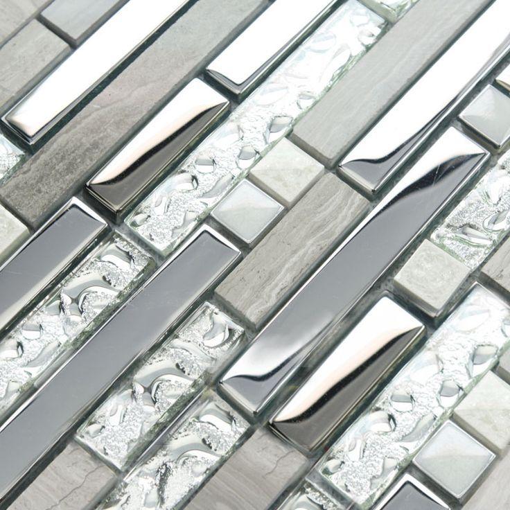 Image result for grey glass tile backsplash Backsplash Ideas