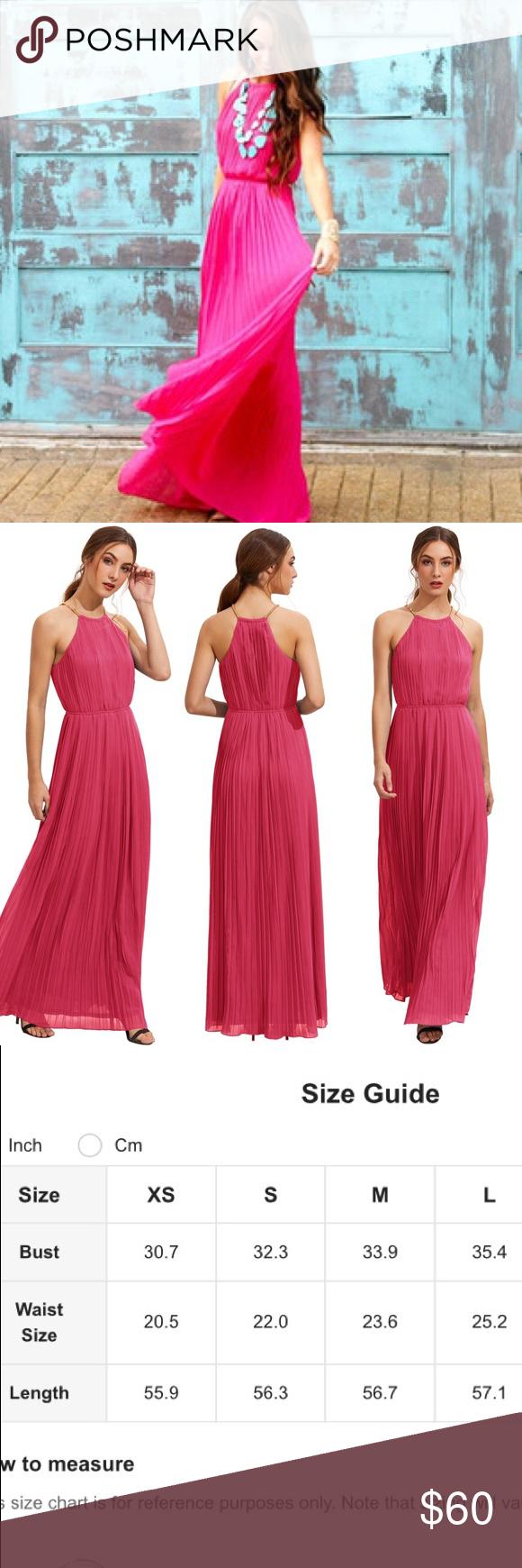 Gorgeous bright pink halter pleated maxi dress school dances