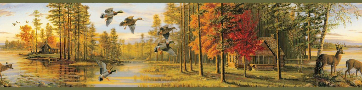 Fall Scene Deer Wallpaper Border