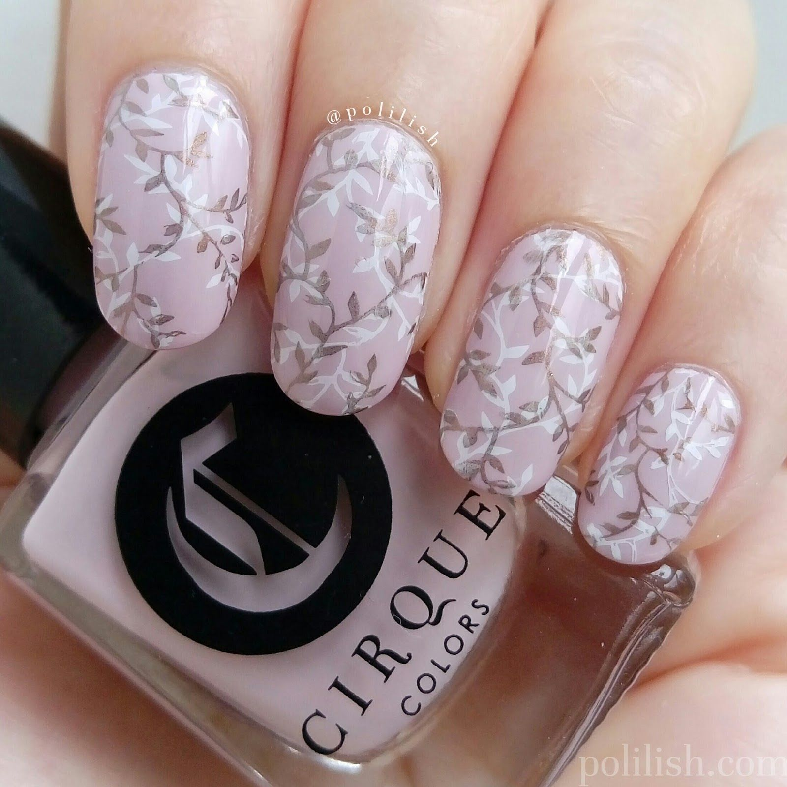 Delicate double stamped nail design featuring Cirque Colors \'Whitney ...