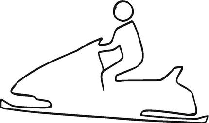 Snowmobile Outline coloring page. Could be used as a