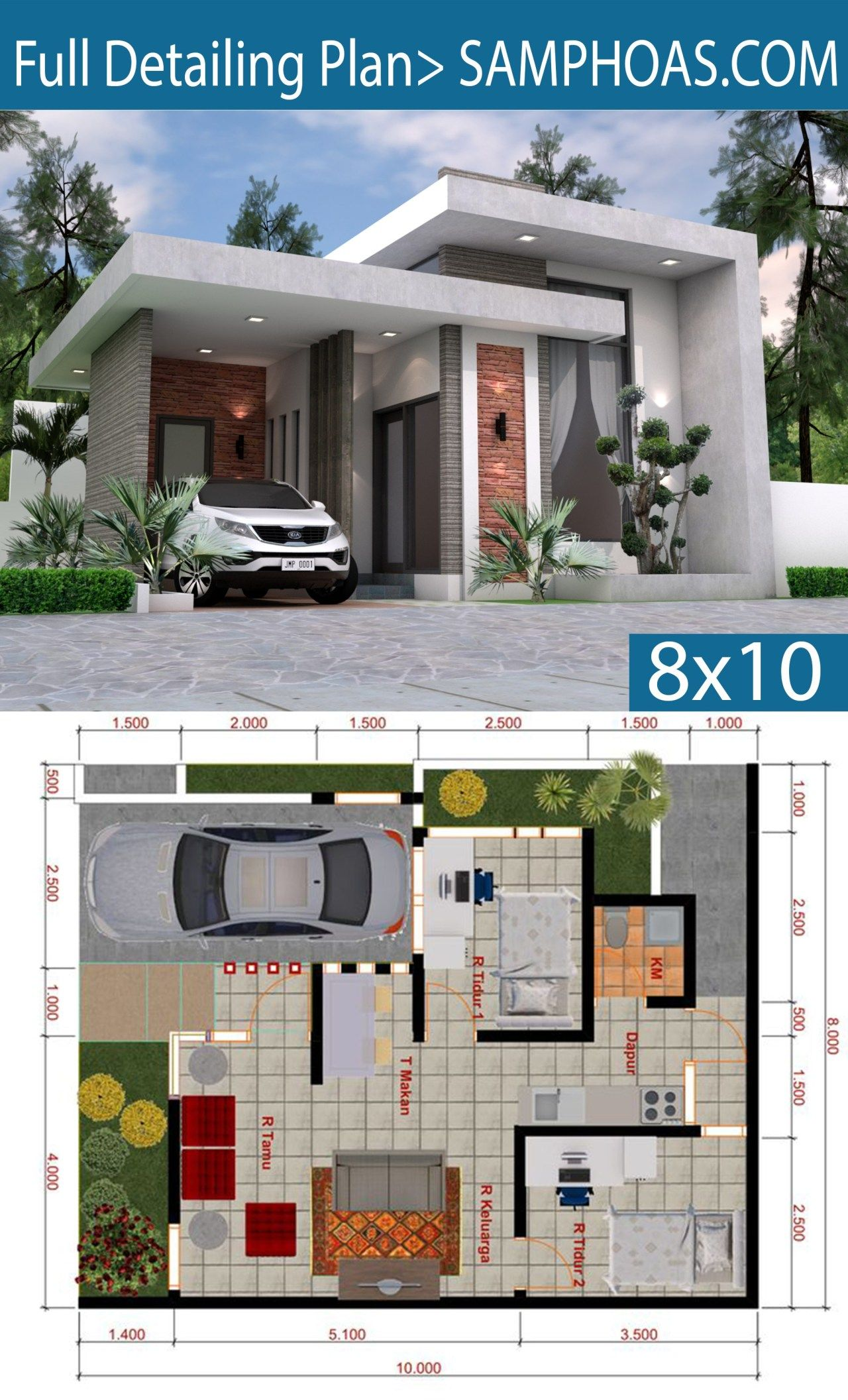 Sketchup House Modeling Idea From Photo 8x10m Samphoas Plan House Floor Design Modern House Design Small House Design