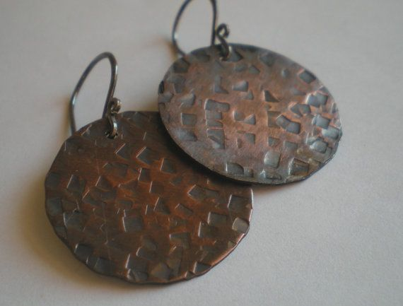 Rustic Copper Disc Earrings by BalsamrootRanch on Etsy, $34.00