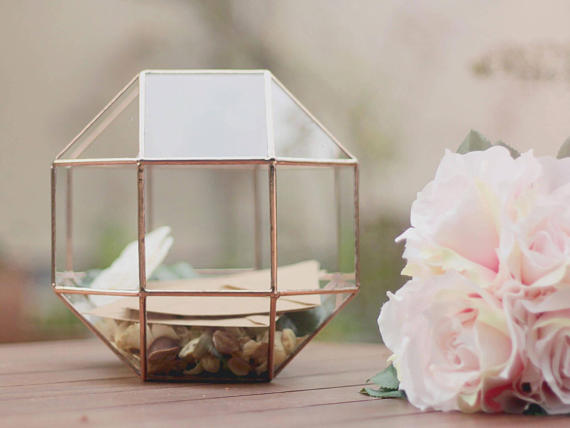 Wedding Party Decor Glass Card Box Wishing Well Box Guest Book