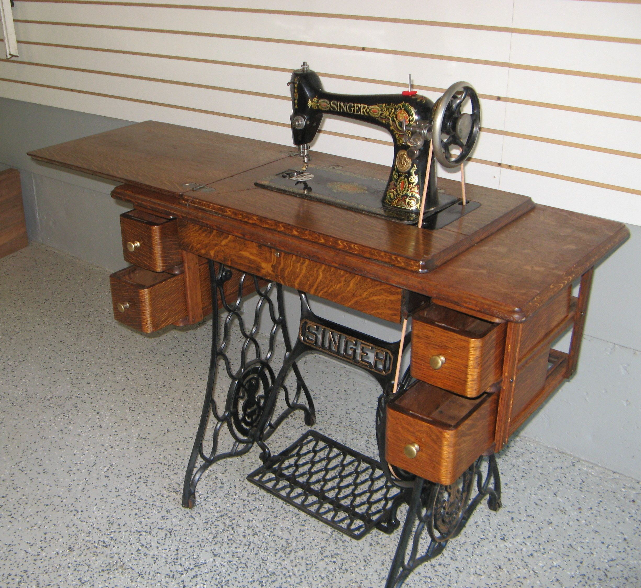 Early 1900s Singer Treadle Sewing Machine With 5 Drawer Tiger Oak Cabinet After Restoratio Antique Sewing Table Antique Sewing Machines Sewing Machine Cabinet