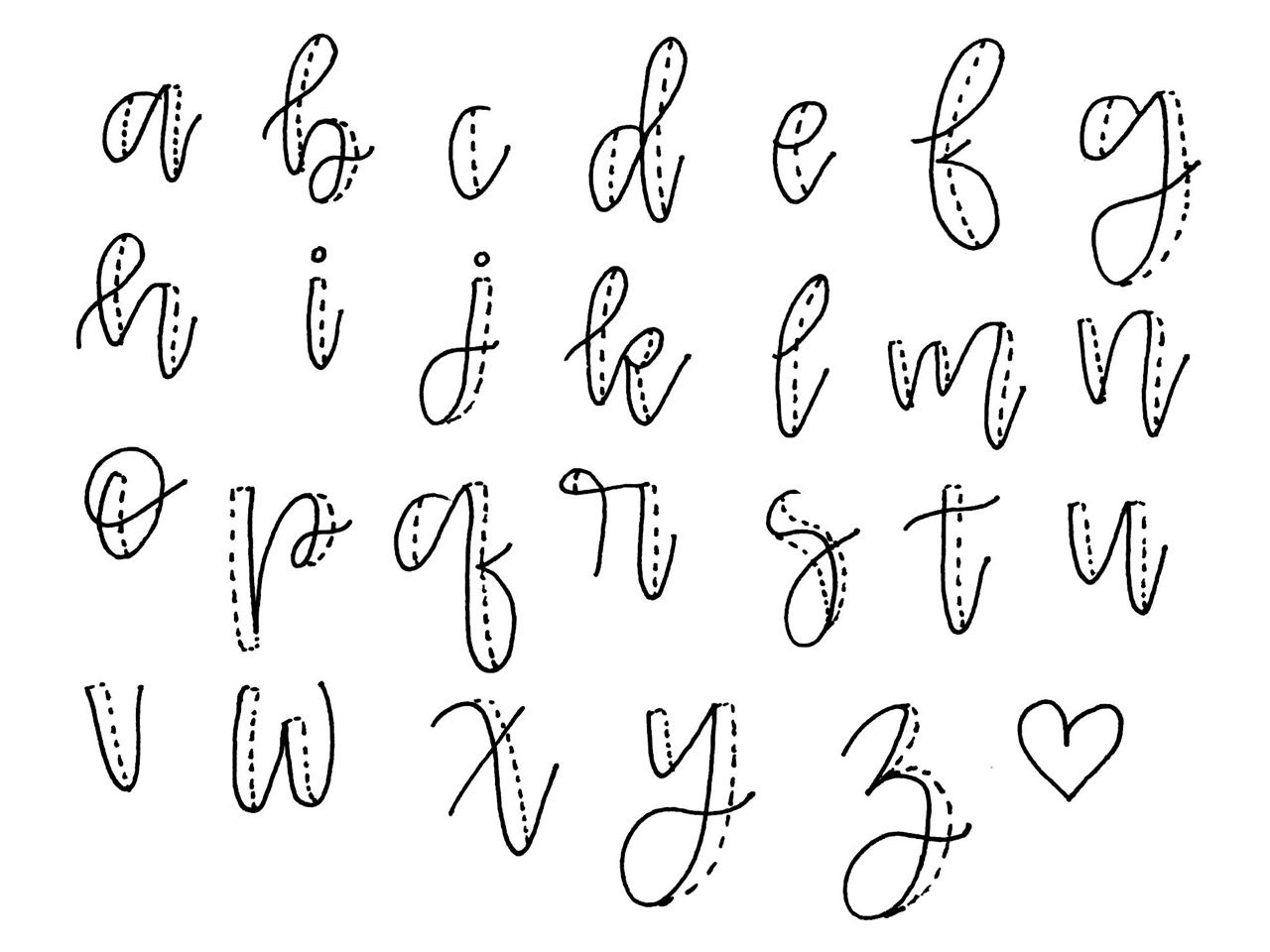 steps 1. exaggerated cursive 2. thicken the downstrokes 3
