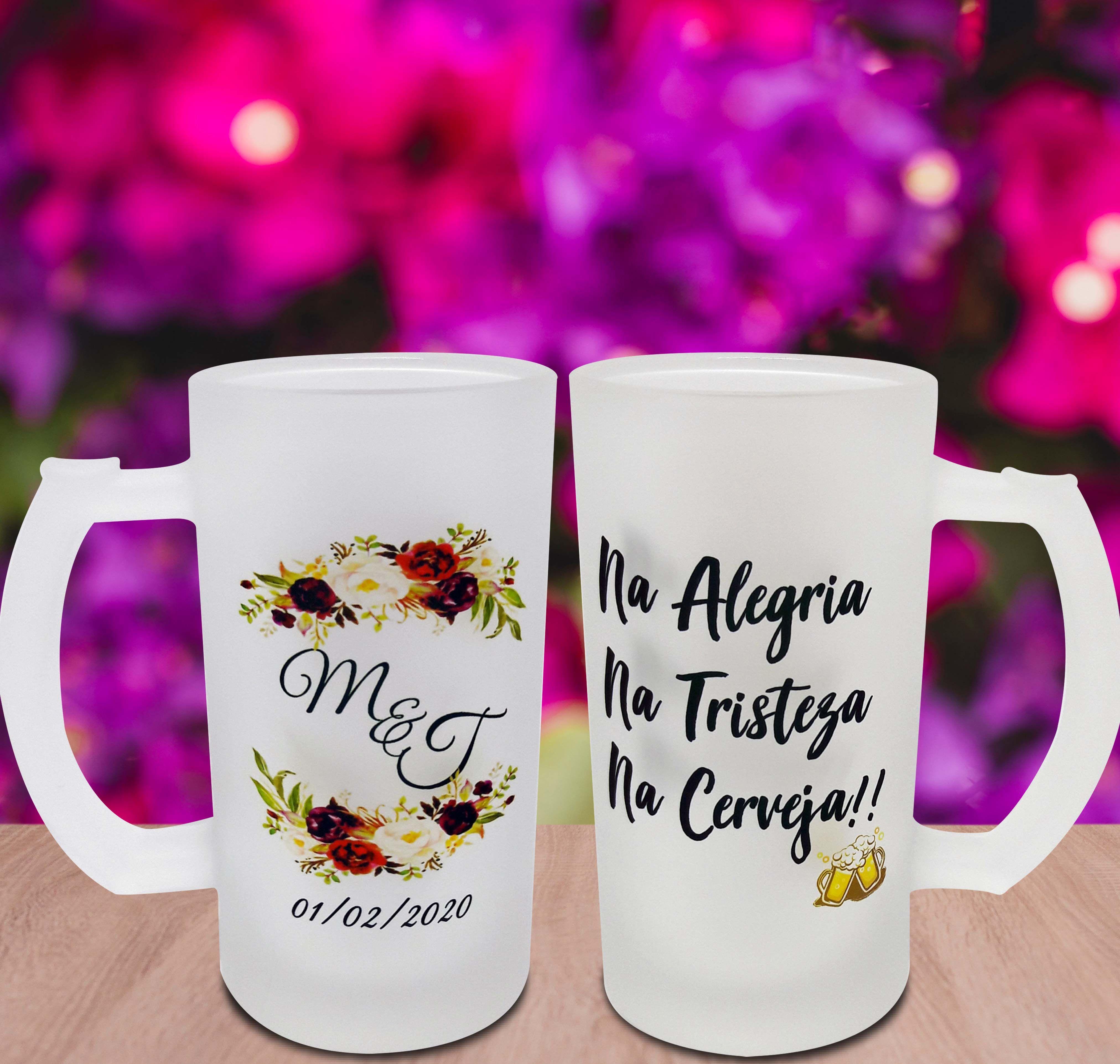 Caneca Vidro Jateado De Cerveja Para Futuros Noivos Casamento