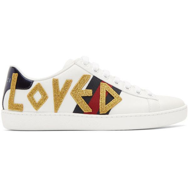 98fe1fe9d4e Gucci White Embroidered Loved New Ace Sneakers (19