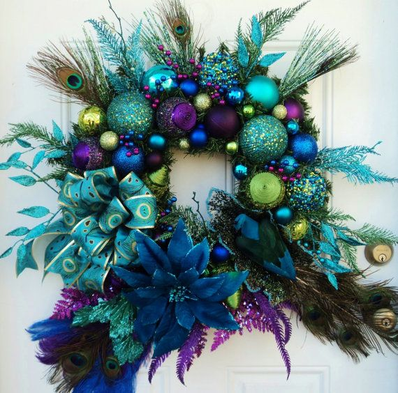 Peacock Wreath XXL - Featured on SheKnows Pinterest Peacock - peacock christmas decorations