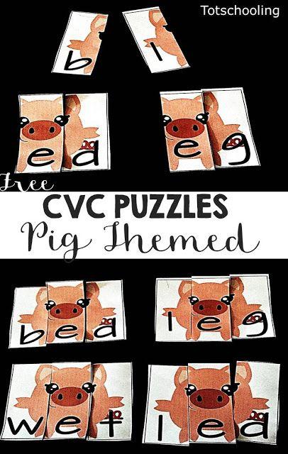 CVC Word Puzzles: Pig Themed